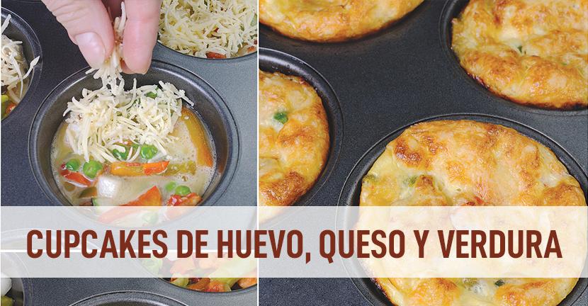 Cupcakes de huevo, queso y verdura