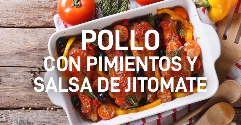 Imagen de la receta Pollo con pimientos y salsa de jitomate