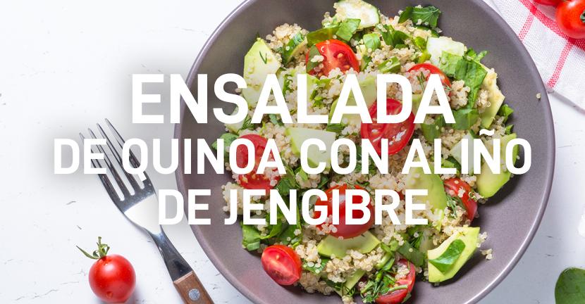 Ensalada de quinoa con aliño de jengibre